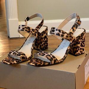 New leopard block heels